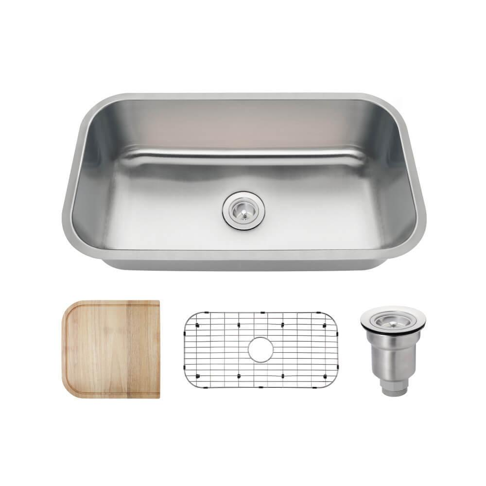 All-in-One Undermount Stainless Steel 32 in. Single Basin Kitchen Sink in