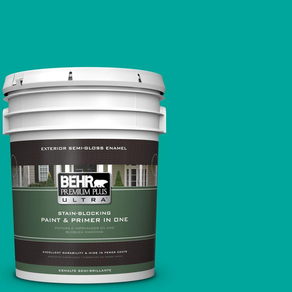 BEHR Premium Plus Ultra Home Decorators Collection 5-gal. #HDC-MD-22 Tropical Sea Semi-Gloss Enamel Exterior Paint