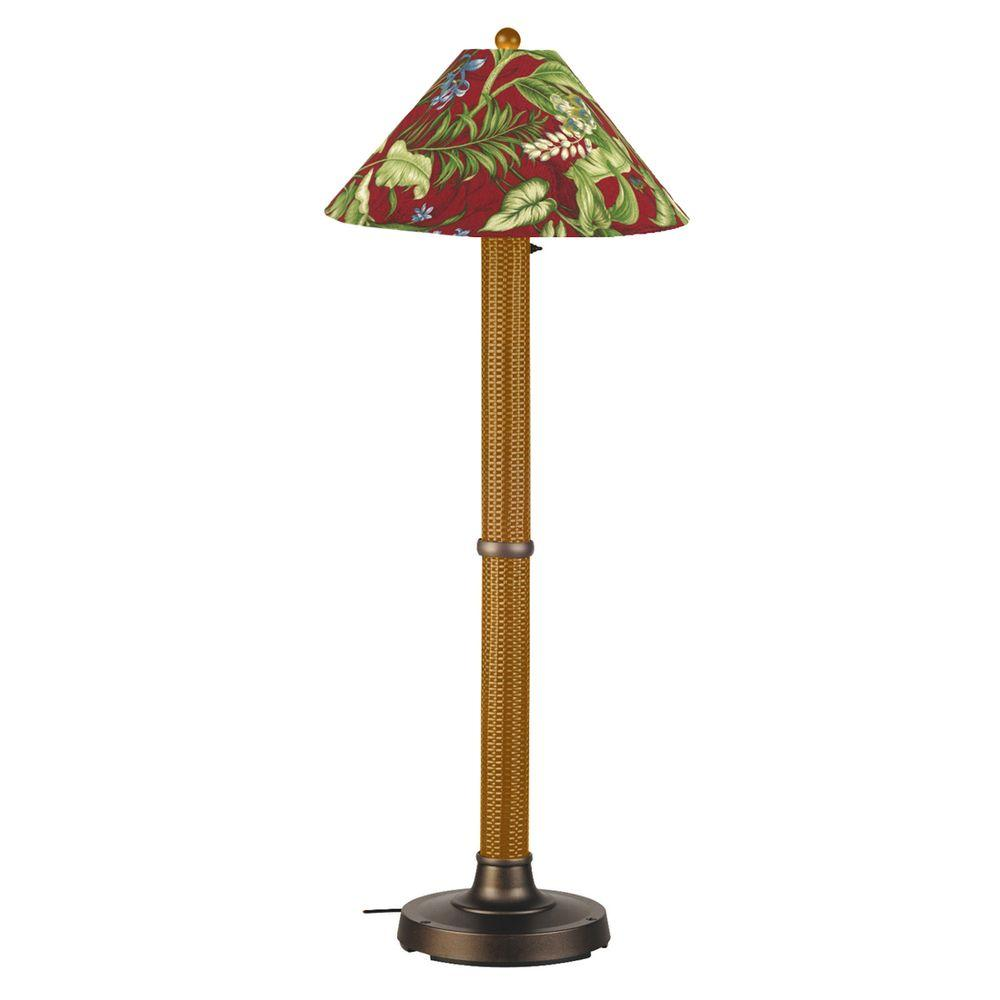 Patio Living Concepts Bahama Weave 60 in. Mocha Cream Floor Lamp with Lacquer Shade