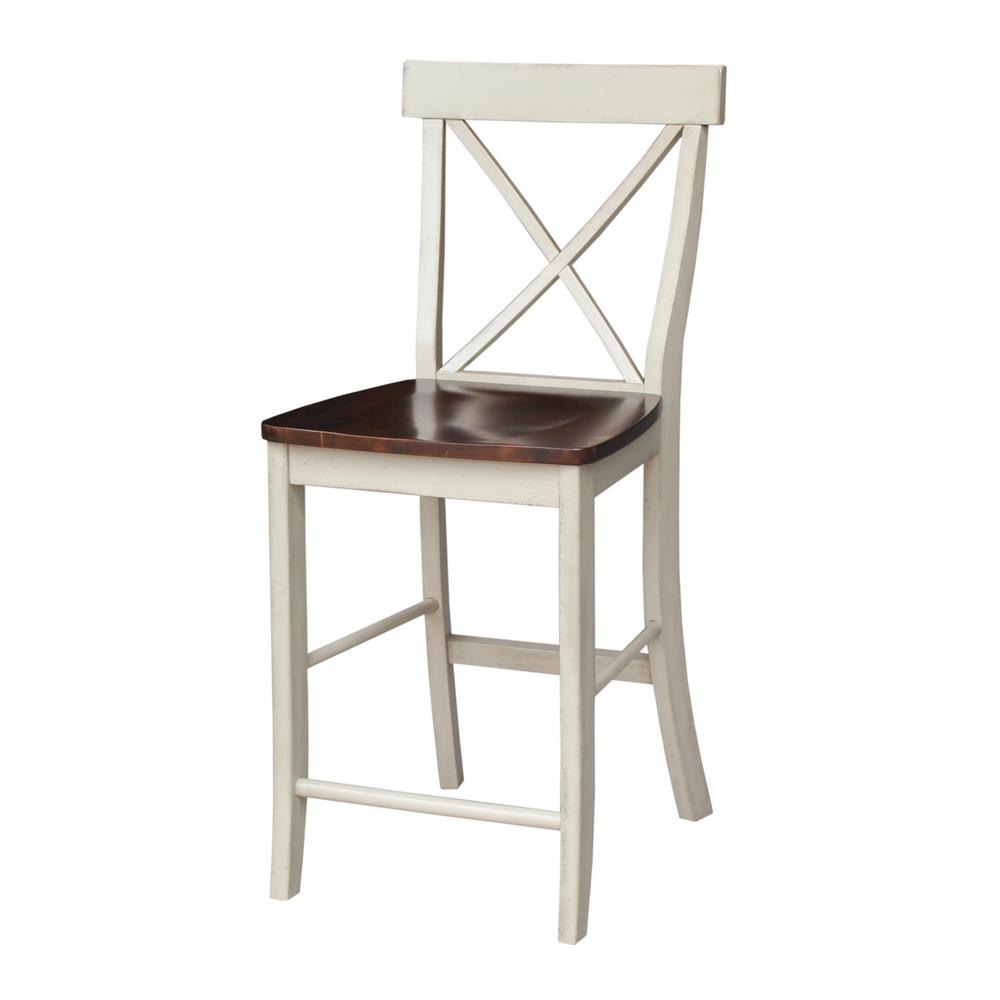 "International Concepts 24"" High X Back Counter Stool in Almond &"