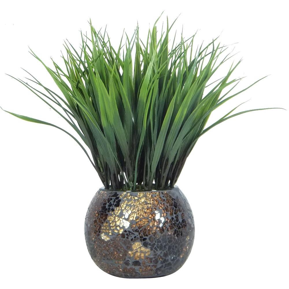 Grass in Brown and Gold Mosaic Container (Set of 2)