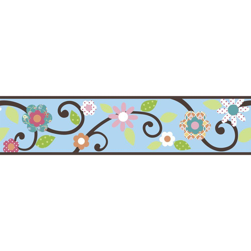 9.25 in. Blue/Brown Scroll Floral Peel and Stick Border