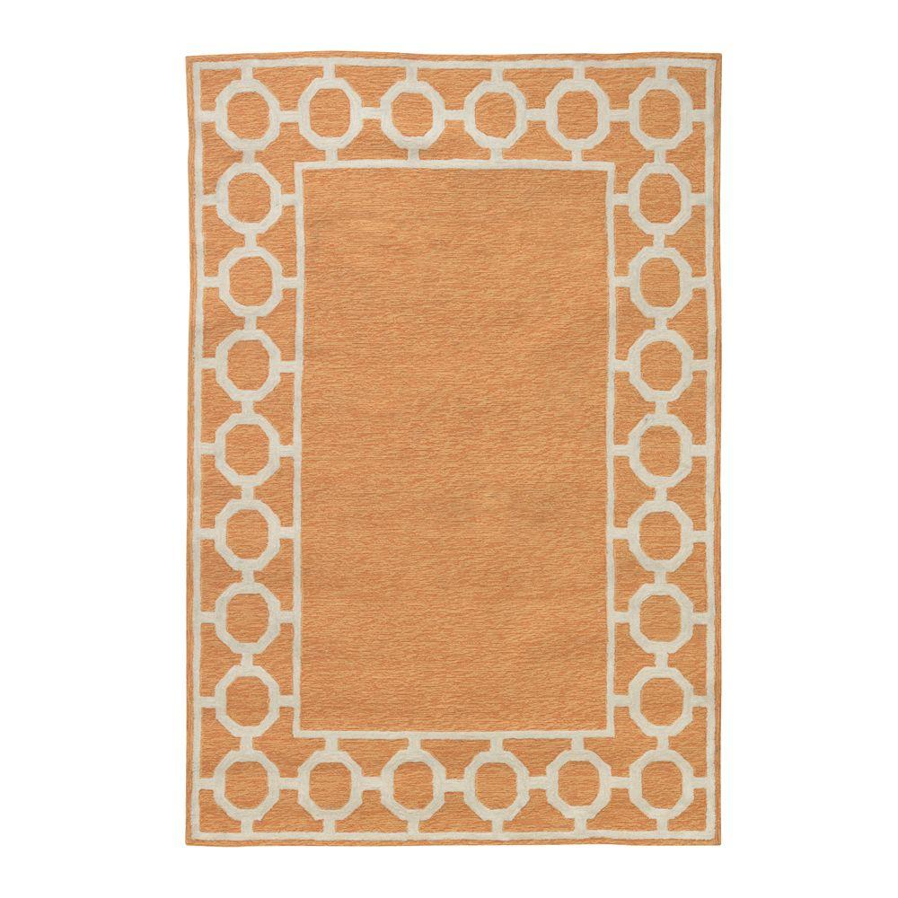 Home Decorators Collection Espana Border Orange 7 ft. 6 in. x 9 ft. 6 in. Area Rug