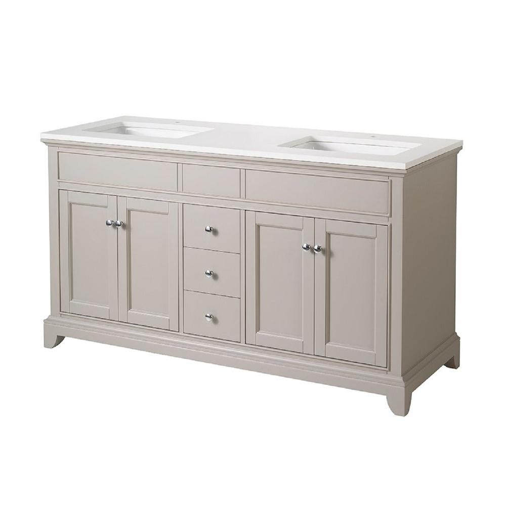 stufurhome Arianny 59 in. W x 22 in. D x 33.5 in. H Vanity in Taupe with Quartz Vanity Top in White and Basins
