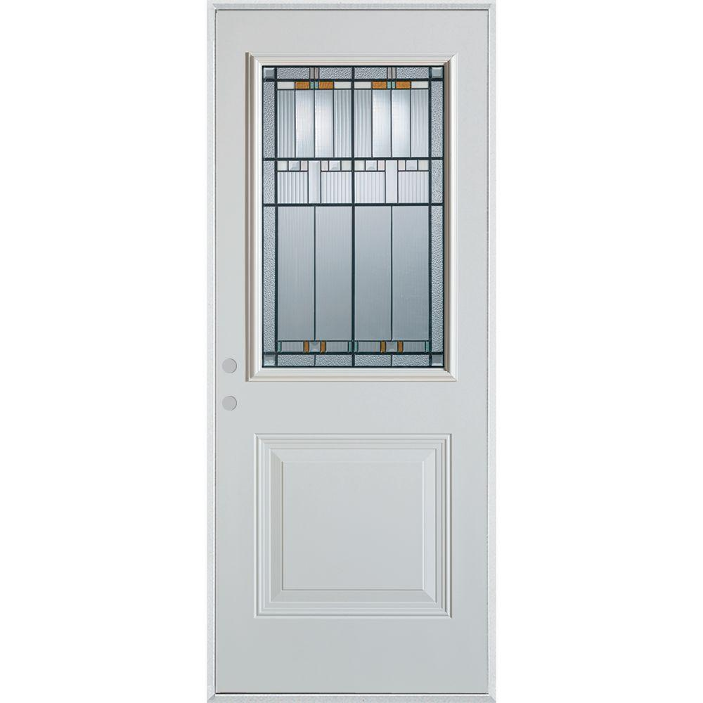 36 in. x 80 in. Architectural 1/2 Lite 1-Panel Painted White