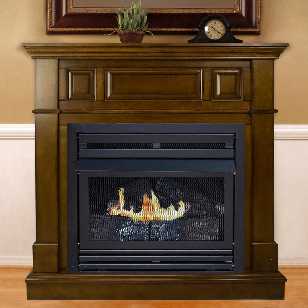 42 in. Convertible Vent-Free Dual Fuel Fireplace in Rich Heritage