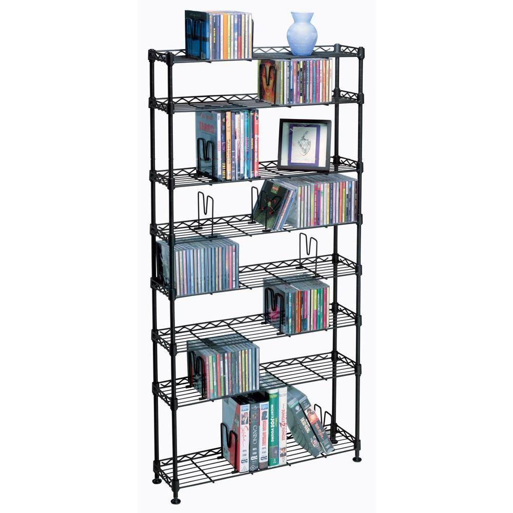 Atlantic 8-Tier Multimedia Maxsteel Storage Rack in Black-3020 - The Home