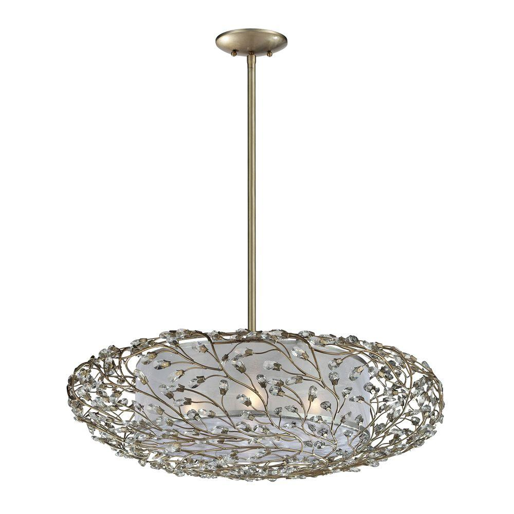 Titan Lighting Winter Forest 4-Light Aged Silver Ceiling Mount Pendant