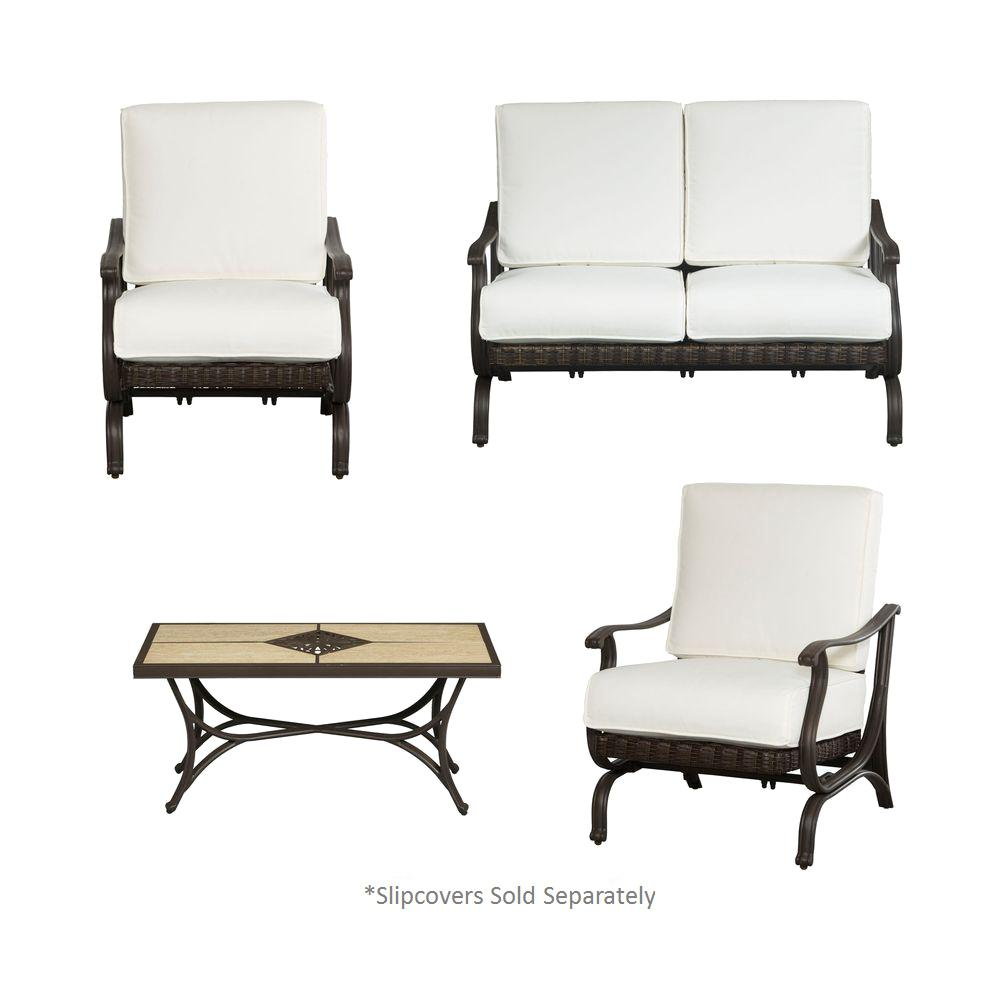 Hampton Bay Pembrey 4-Piece All-Weather Wicker Patio Conversation Set with Cushion Insert (Slipcovers Sold Separately)