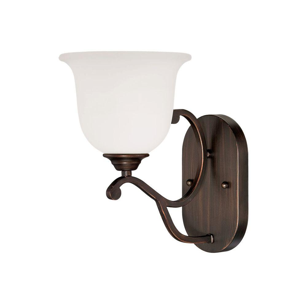Rubbed Bronze Sconce with Etched White Glass
