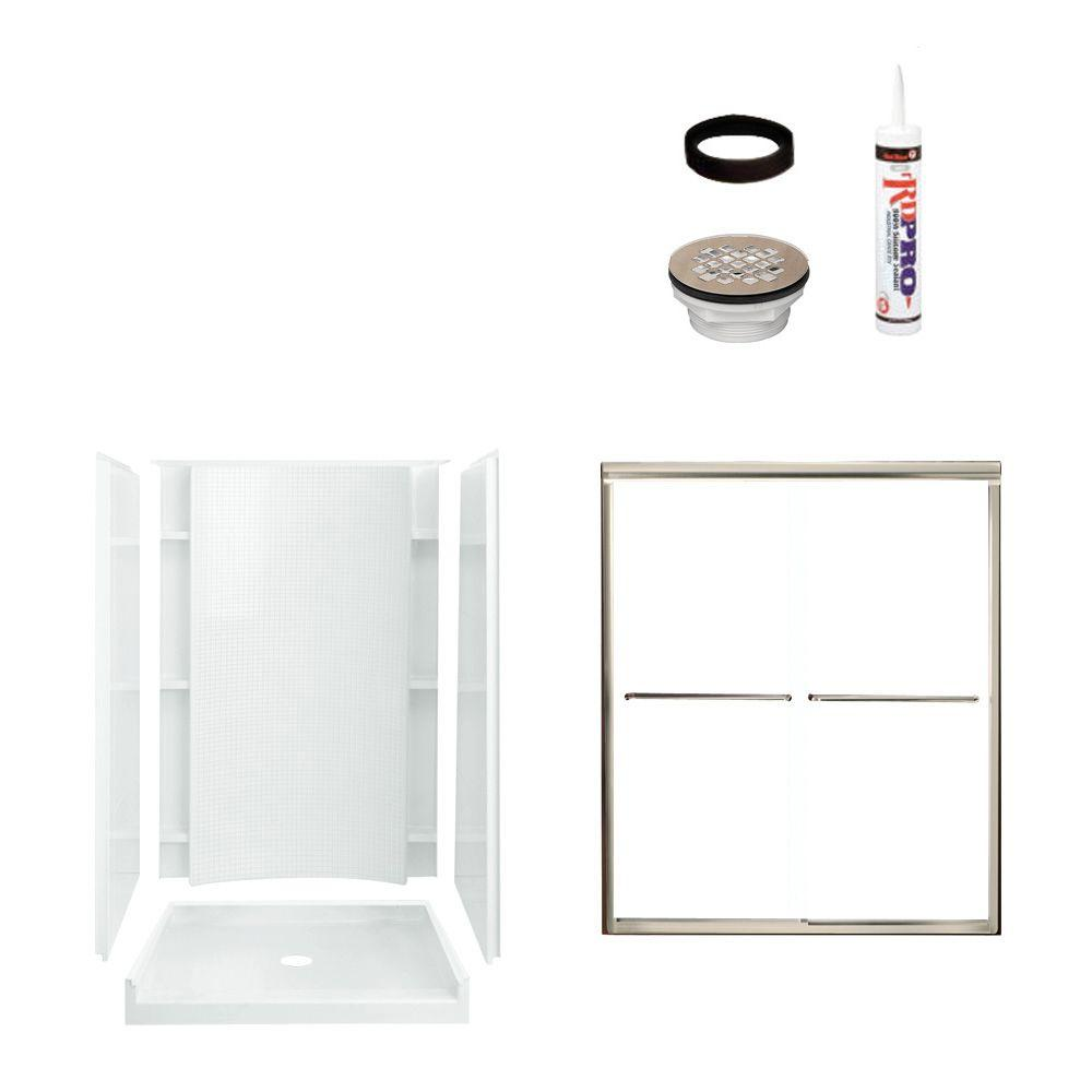 STERLING Accord 36 in. x 48 in. x 77 in. Shower Kit with Shower Door in White/Nickel-DISCONTINUED