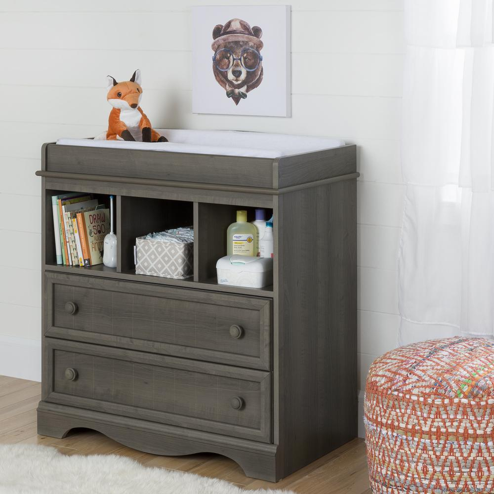 south shore 2 drawer gray maple changing table 10429 the home depot