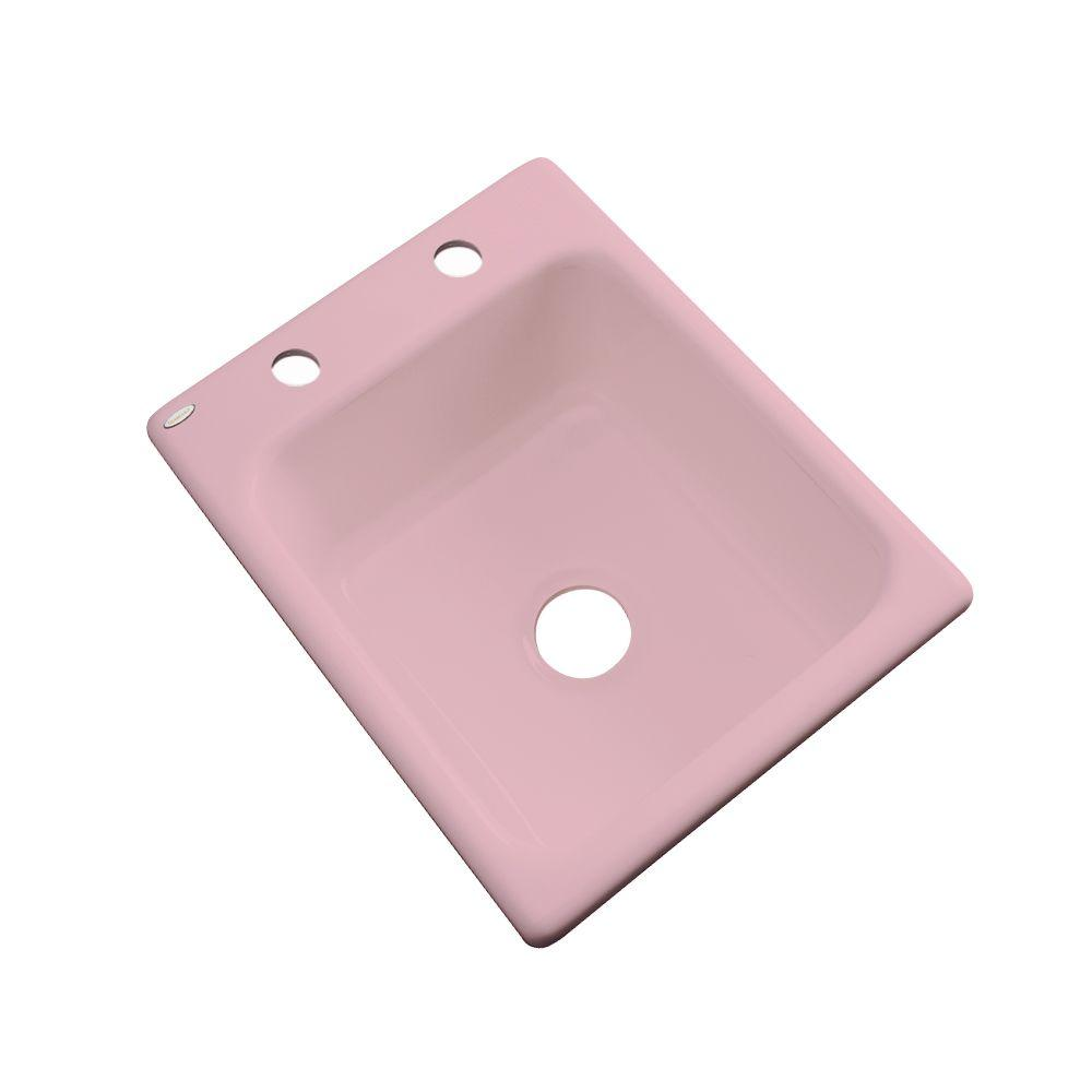 Thermocast Crisfield Drop-In Acrylic 17 in. 2-Hole Single Bowl Entertainment Sink in Dusty Rose