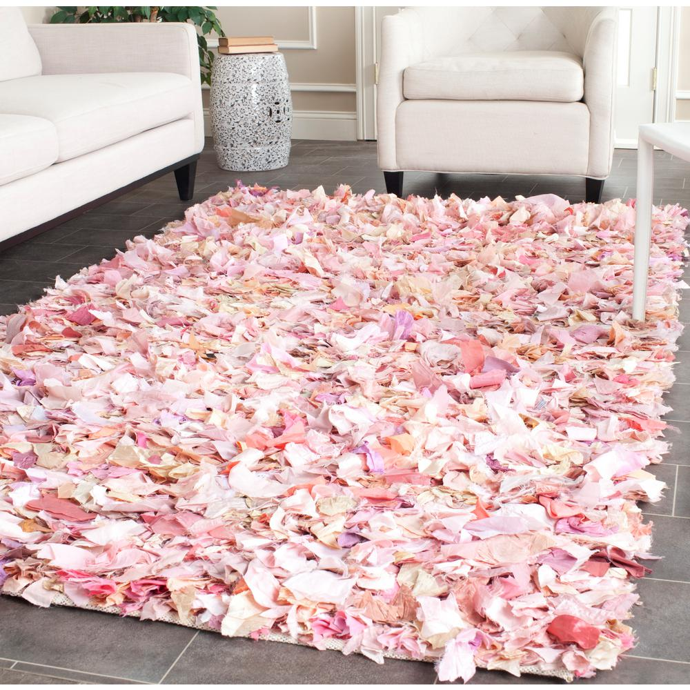 Safavieh Rio Shag IvoryPink 4 Ft X 6 Area Rug SG951P 4 The Home Depot