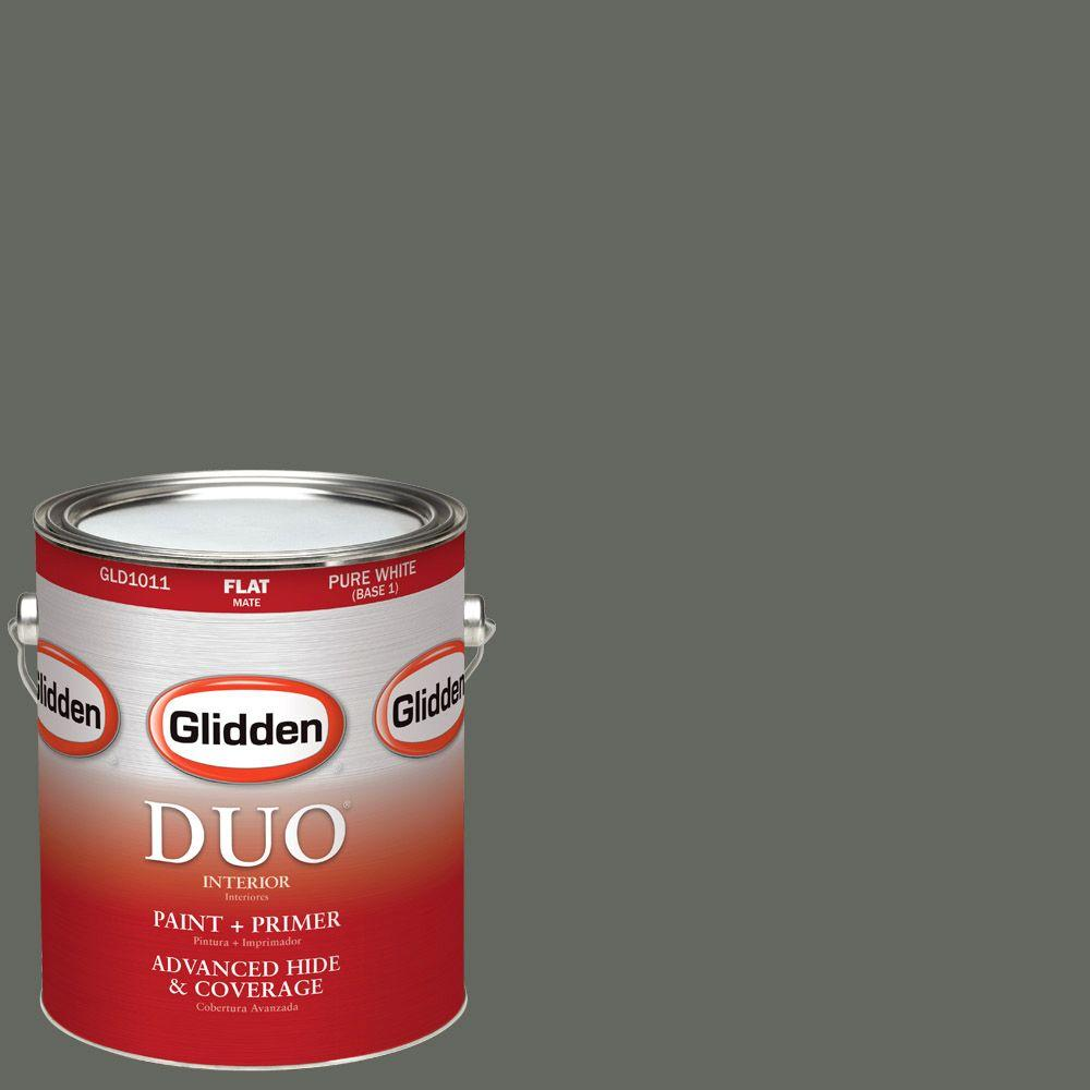 Glidden DUO 1-gal. #HDGCN13U Deepest Valley Green Flat Latex Interior Paint with Primer