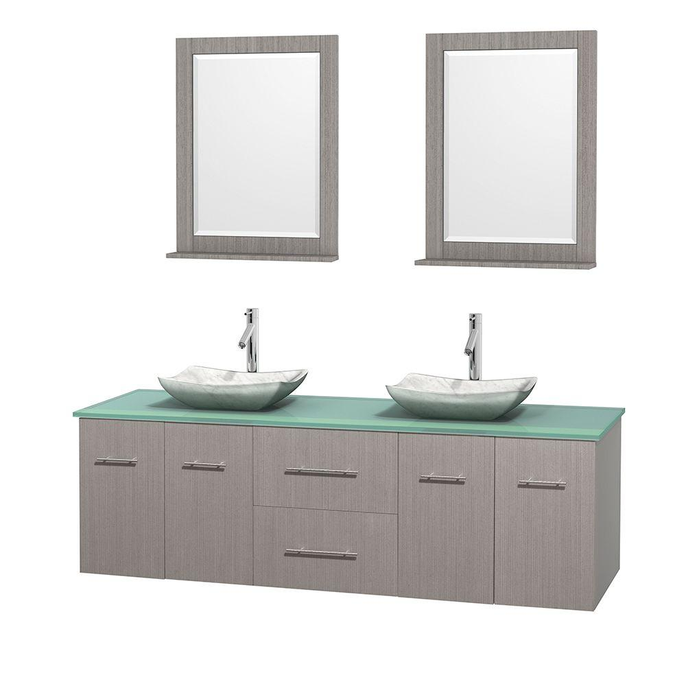 Centra 72 in. Double Vanity in Gray Oak with Glass Vanity