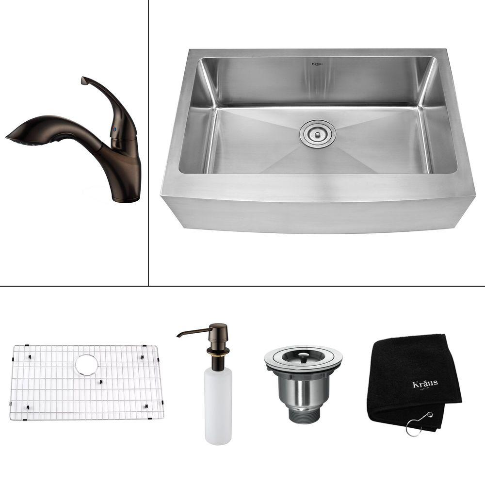 KRAUS All-in-One Farmhouse Apron Front Stainless Steel 35.9 in. 0-Hole Single Bowl Kitchen Sink with Accessories