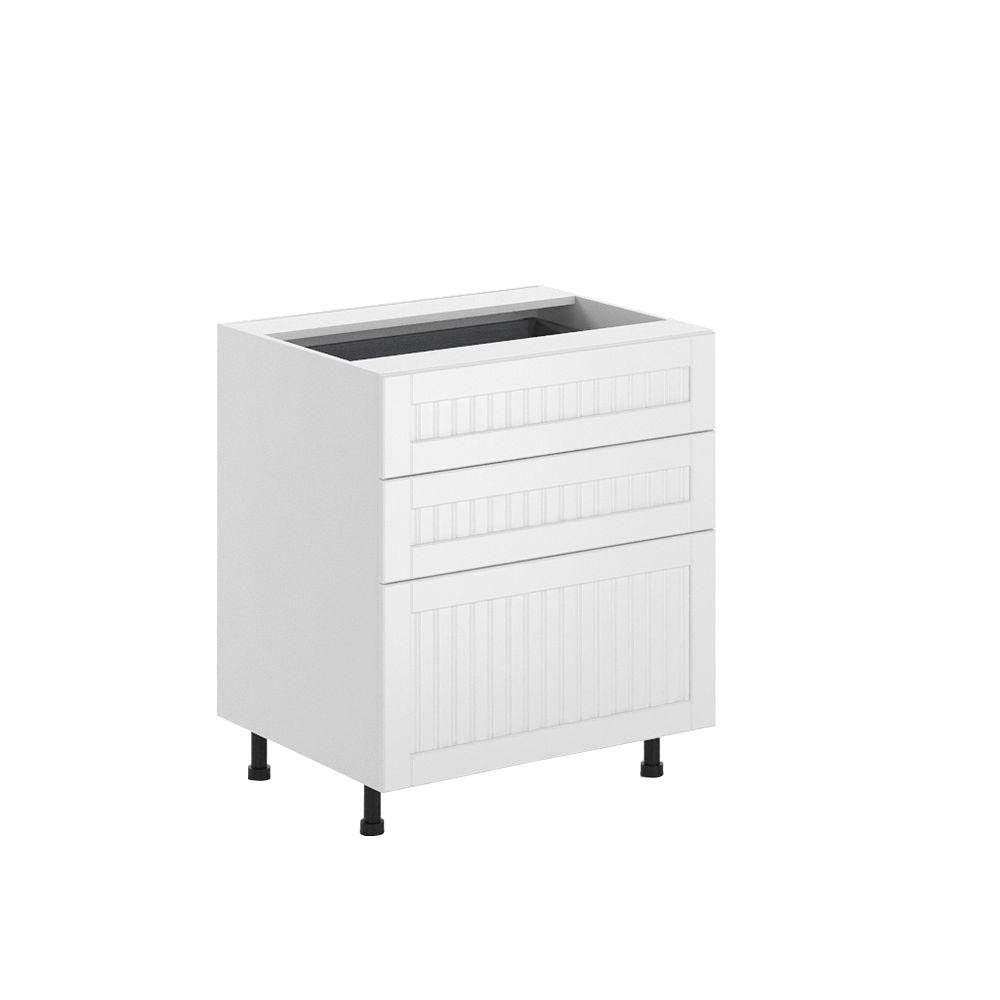 Ready to Assemble 30x34.5x24.5 in. Odessa 3-Drawer Base Cabinet in White