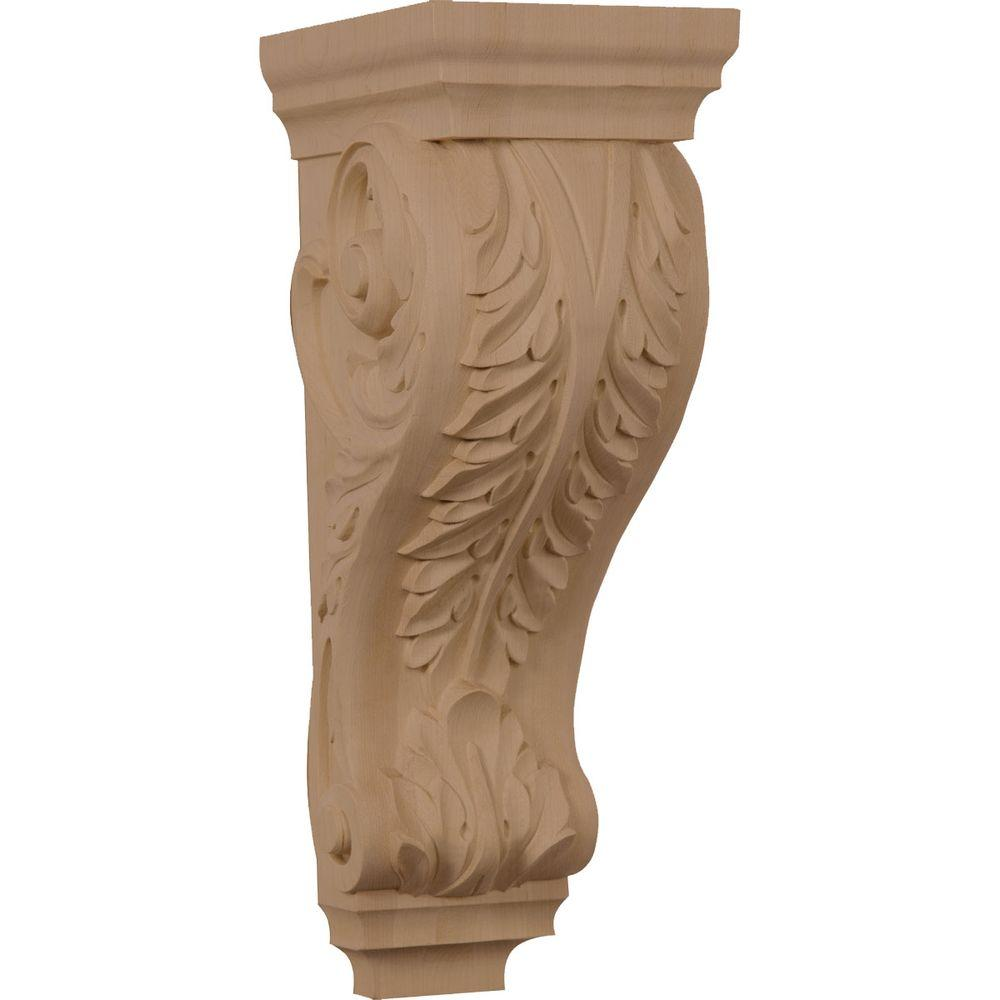 Ekena Millwork 7-1/2 in. x 6 in. x 18 in. Unfinished Wood Walnut Extra Large Acanthus Corbel