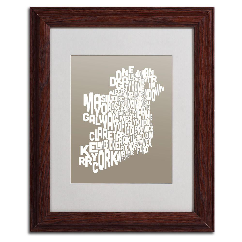 11 in. x 14 in. Ireland Text Map - Taupe Matted