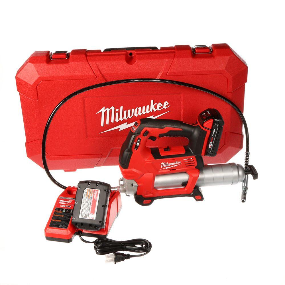 Milwaukee M18 18-Volt Lithium-Ion Cordless 2-Speed Grease Gun Kit