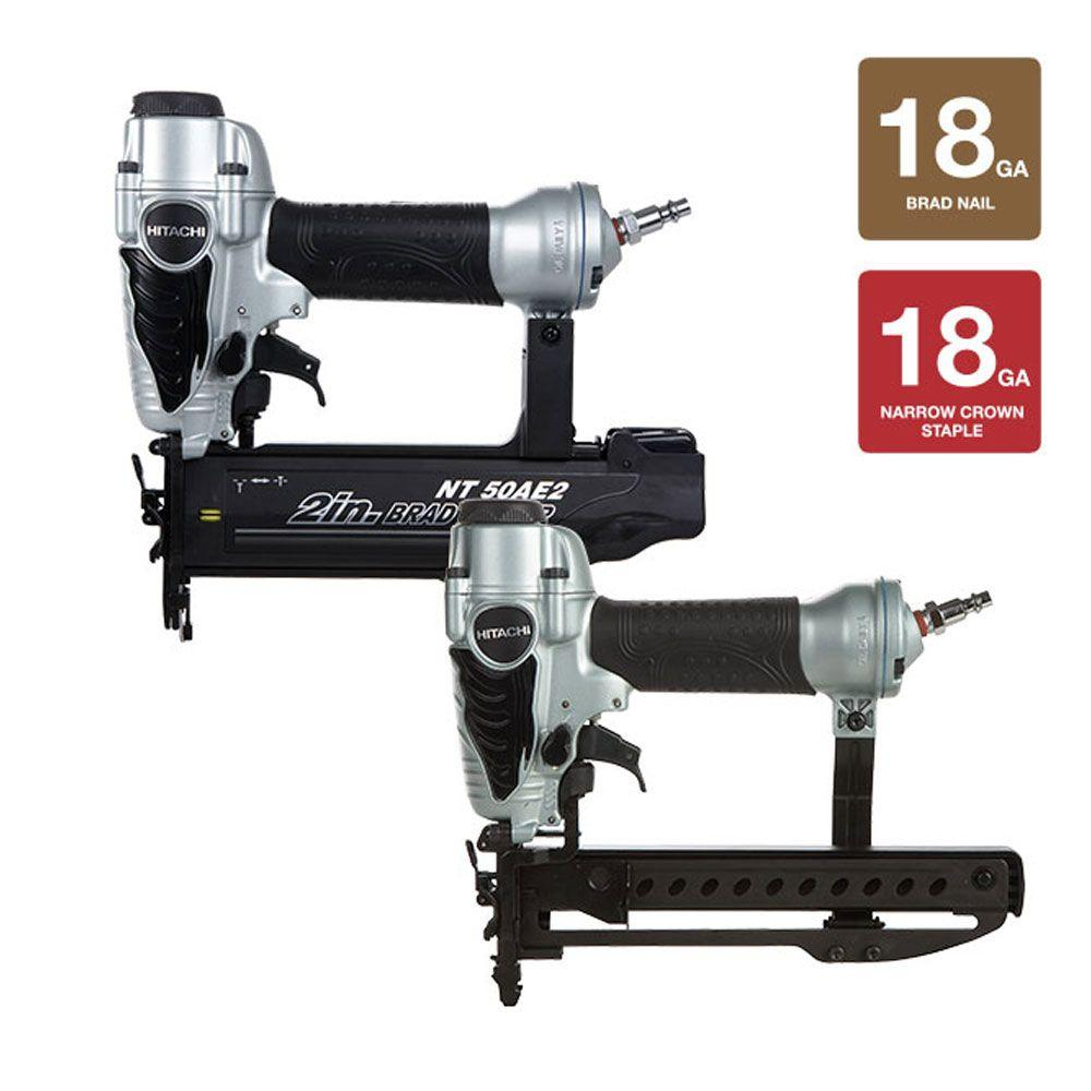 Hitachi 2-Piece 2 in. x 18-Gauge Finish Nailer and 0.25 in. Narrow Crown Stapler Kit