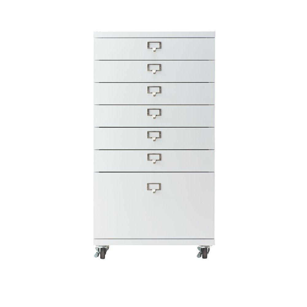 Becker 7-Drawer Metal Cart in White