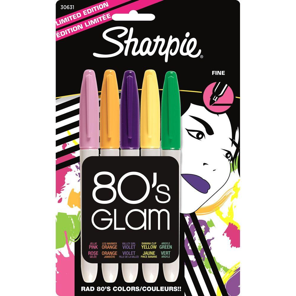 Sharpie Assorted Colors 80s Glam Fine Point Permanent Marker (5-Pack)
