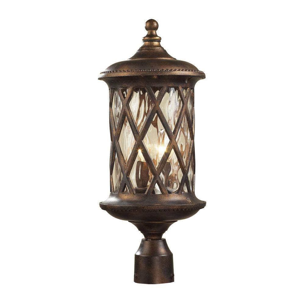 Hampton Bay Solar Bronze Outdoor LED Square Round Deck Post Light 2 Pack NX