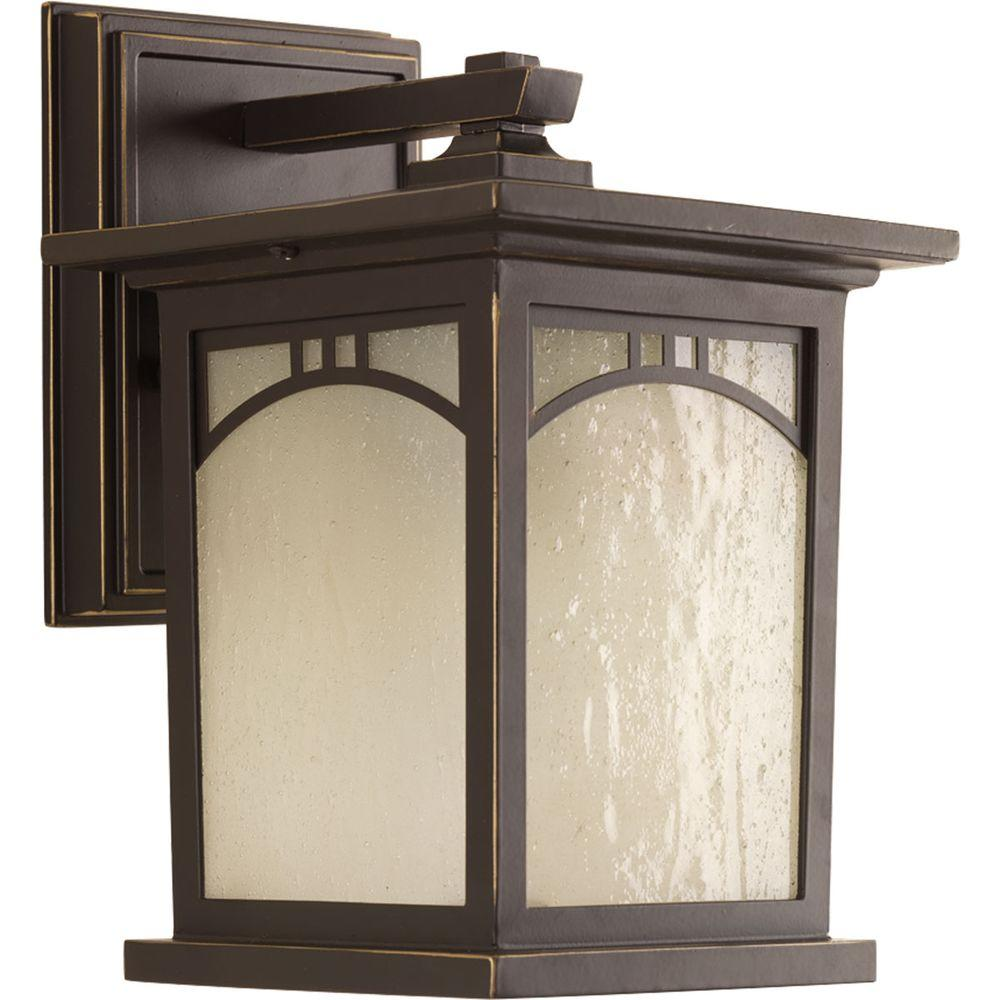 Progress Lighting Residence Collection 1 Light Outdoor 6 Inch Textured  Black LED Wall Lantern P6608 3130K9DI   The Home Depot
