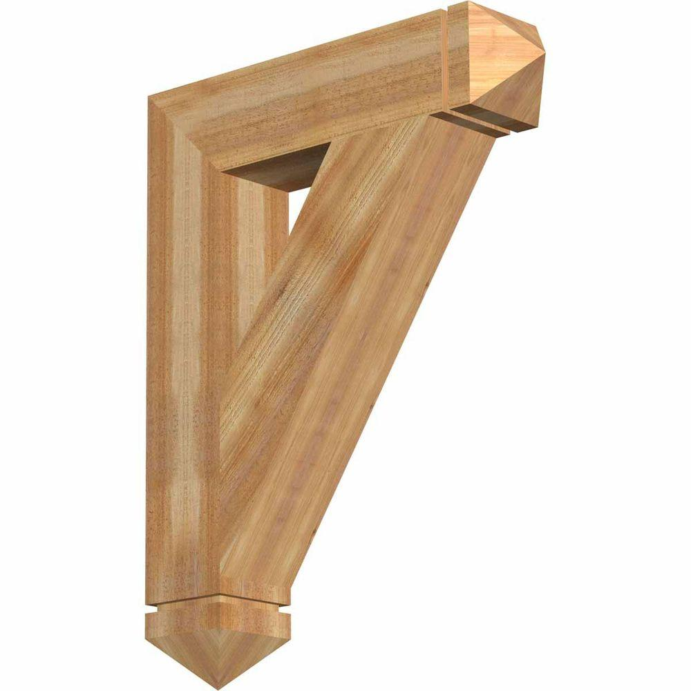 Brackets: Ekena Millwork Building Materials 6 in. x 36 in. x 28 in. Western Red Cedar Traditional Arts and Crafts Rough Sawn BKT06X28X36TRA03RWR