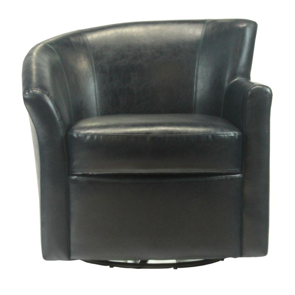 Elegant Home Fashions Angel Chair 32.5 in. W x 33 in. D x 32.5 in. H Navy Bonded Leather Left Swivel Arm Chair-DISCONTINUED