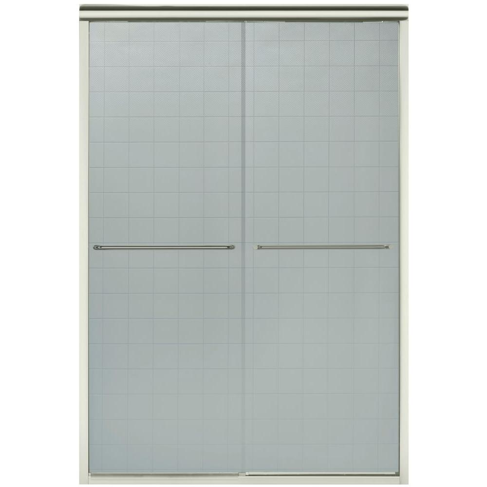 STERLING Finesse 47-5/8 in. x 70-1/16 in. Semi-Frameless Sliding Shower Door in Nickel with Lake Mist Glass Pattern
