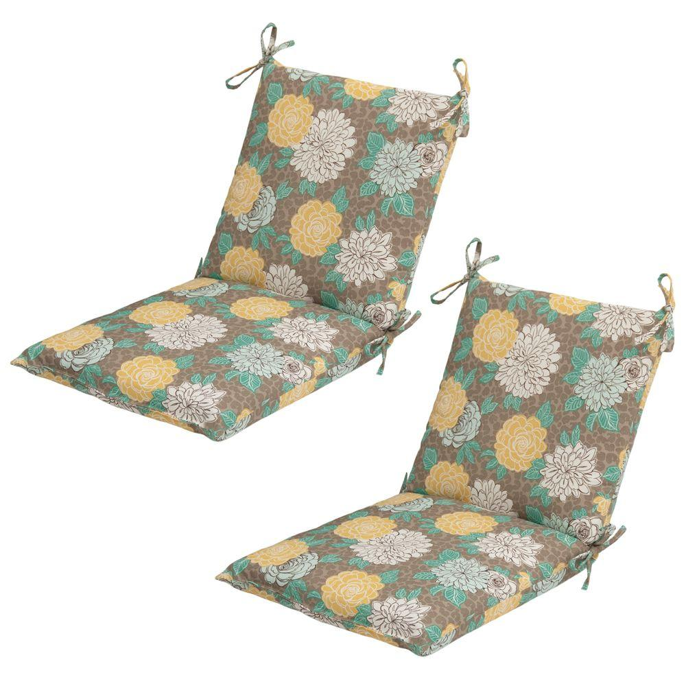 Hampton Bay Petula Mid-Back Outdoor Dining Chair Cushion (2-Pack)