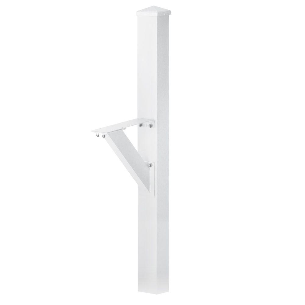 Modern In-Ground Mounted Decorative Mailbox Post in White