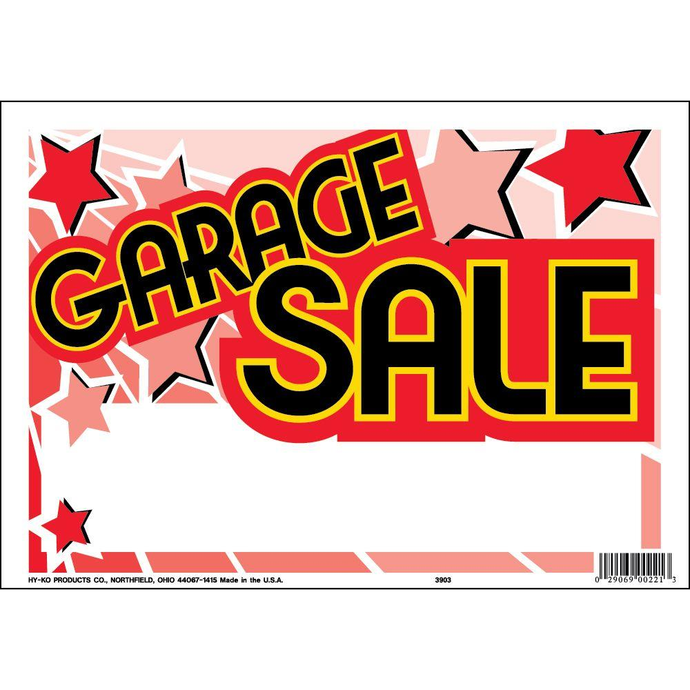 HY KO 9 in x 12 in Plastic Contemporary Garage Sale Sign