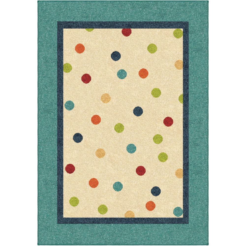 Orian Rugs Dot2Dot Teal 5 ft. 3 in. x 7 ft. 6 in. Indoor Area Rug
