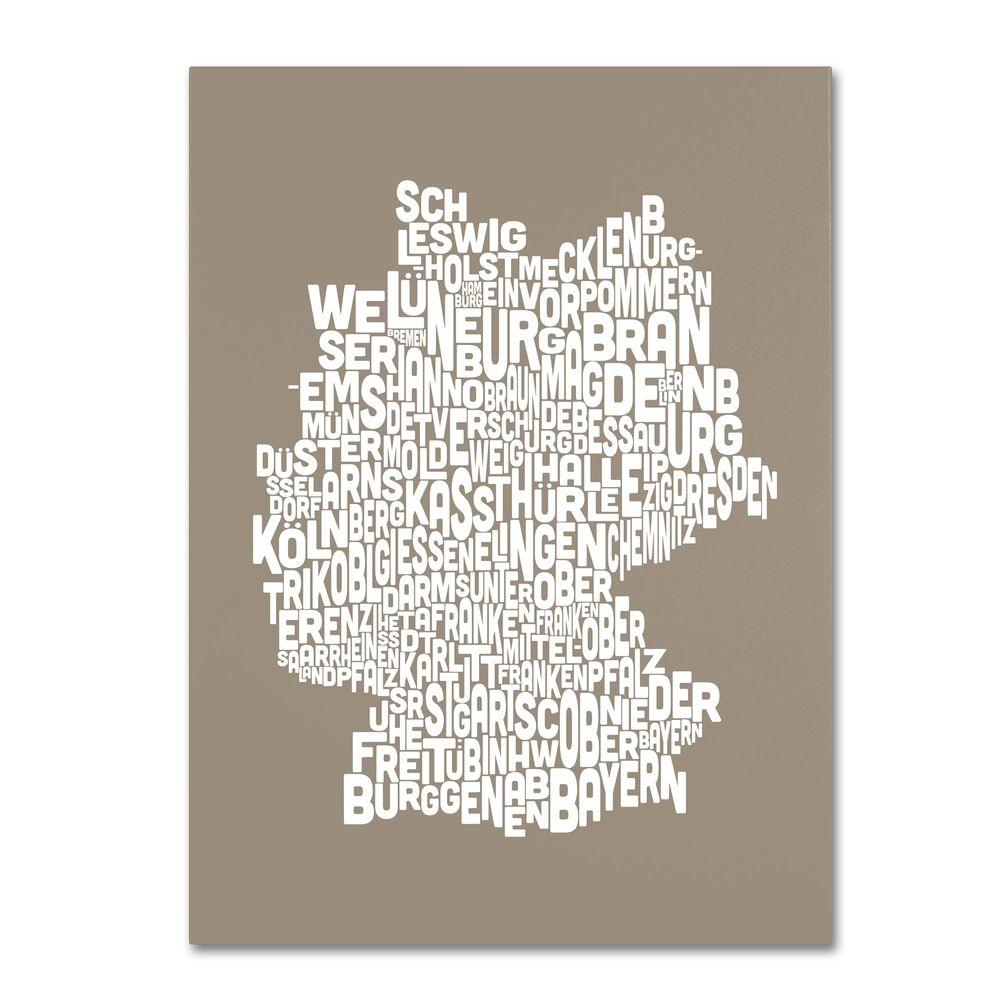 Trademark Fine Art 16 in. x 24 in. Germany Regions Map - Taupe Canvas Art