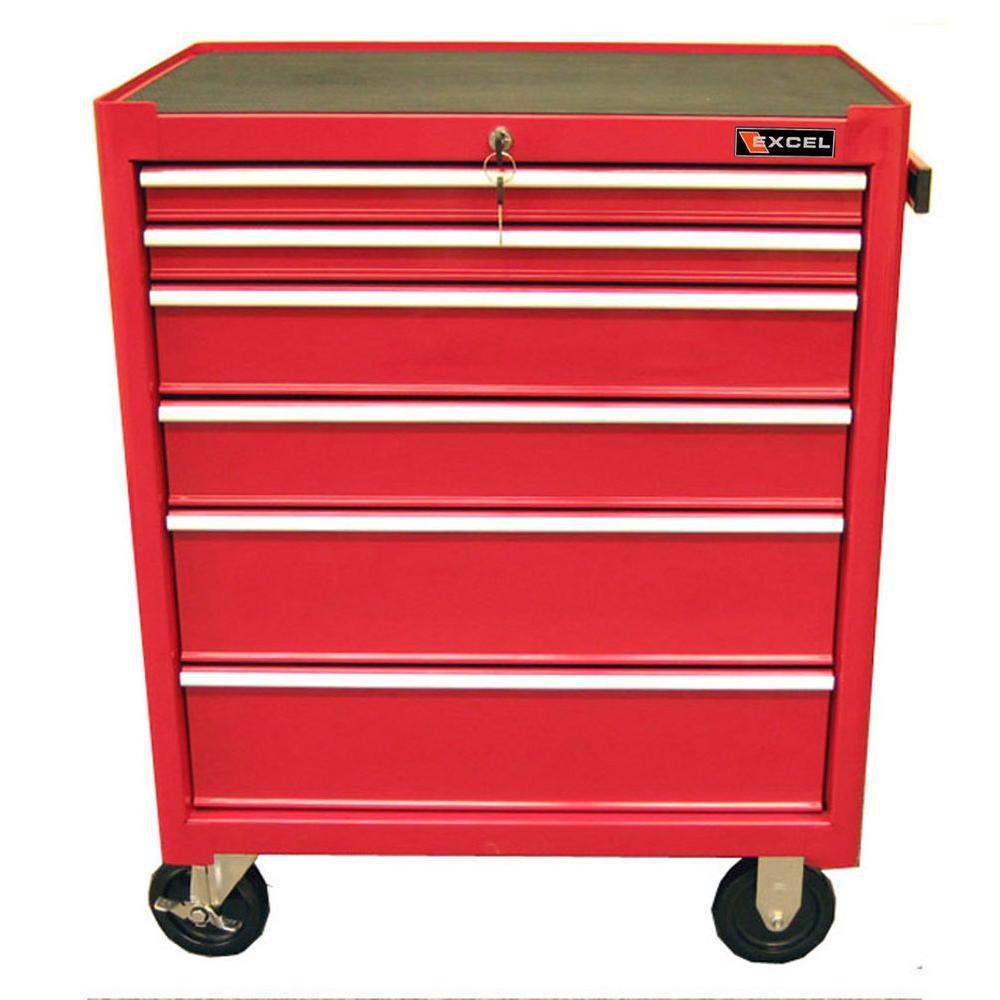 27 in. 6-Drawer Steel Roller Cabinet Tool Chest in Red