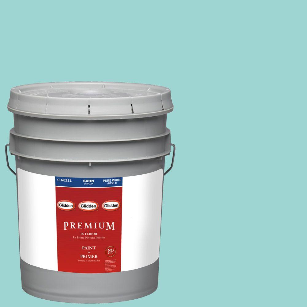 Interior Paint, Exterior Paint & Paint Samples: Glidden Premium Paint 5-gal. #HDGB20U Glistening Teal Satin Latex Interior Paint with Primer HDGB20UP-05SA
