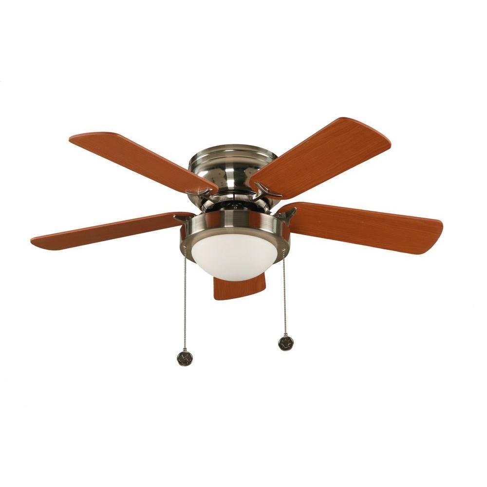 Hampton Bay Capri 36 in. Brushed Nickel Hugger Ceiling Fan with 5 Reversible MDF Blades and Single Frosted Twist Lock Glass