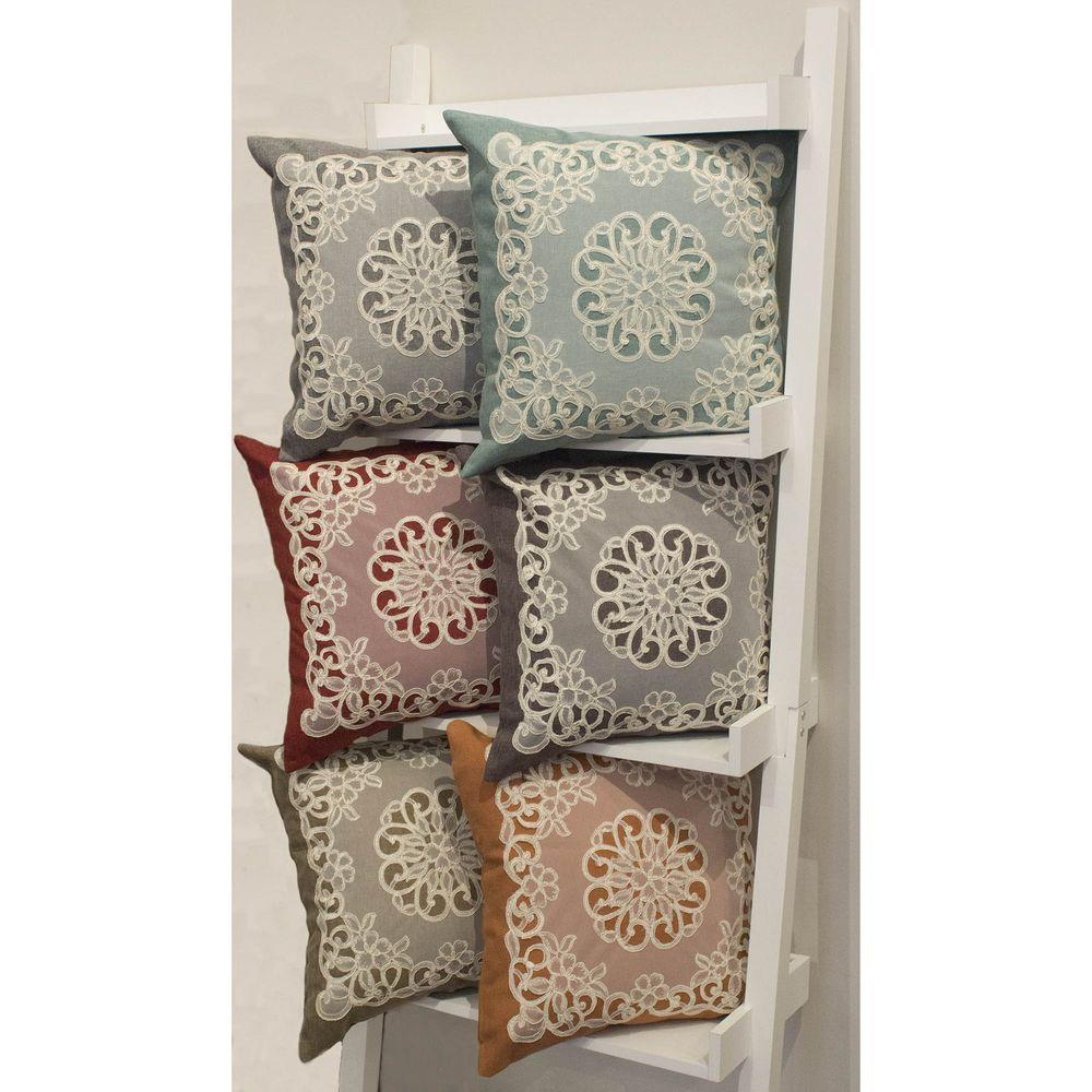 Creative Home Ideas Gretta 18 in. x 18 in. Zippered Embroidery