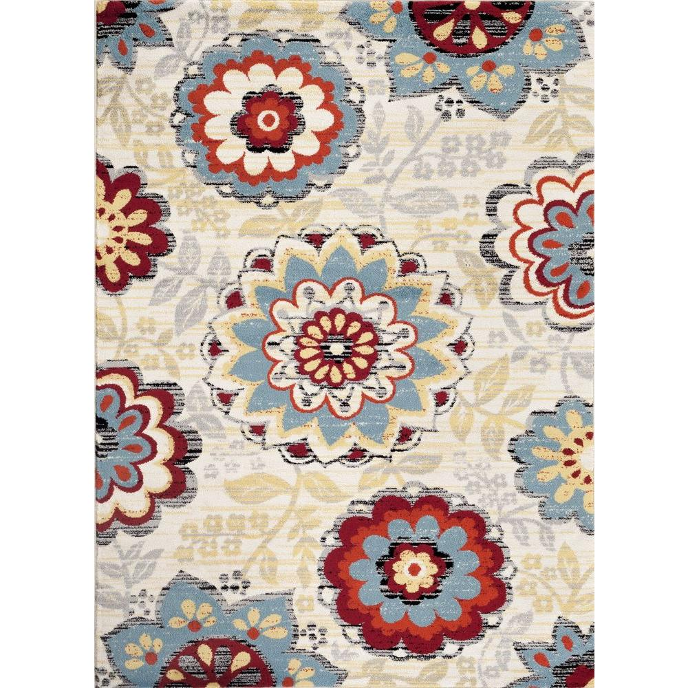 Transitional Large Floral Design Cream 7 ft. 10 in. x 10