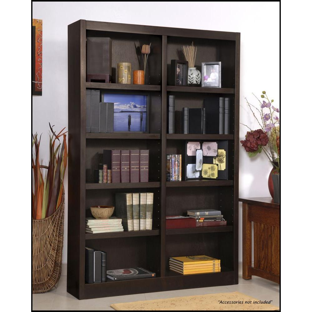 Concepts In Wood Midas Double Wide 10-Shelf Bookcase in Espresso