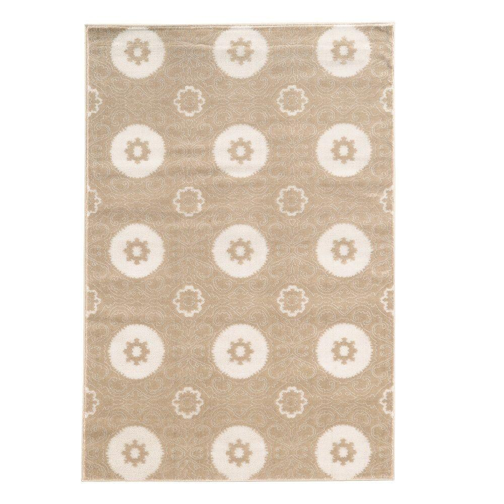 Linon Home Decor Prisma Karma Light Beige and White 8 ft. x 10 ft. 4 in. Indoor Area Rug