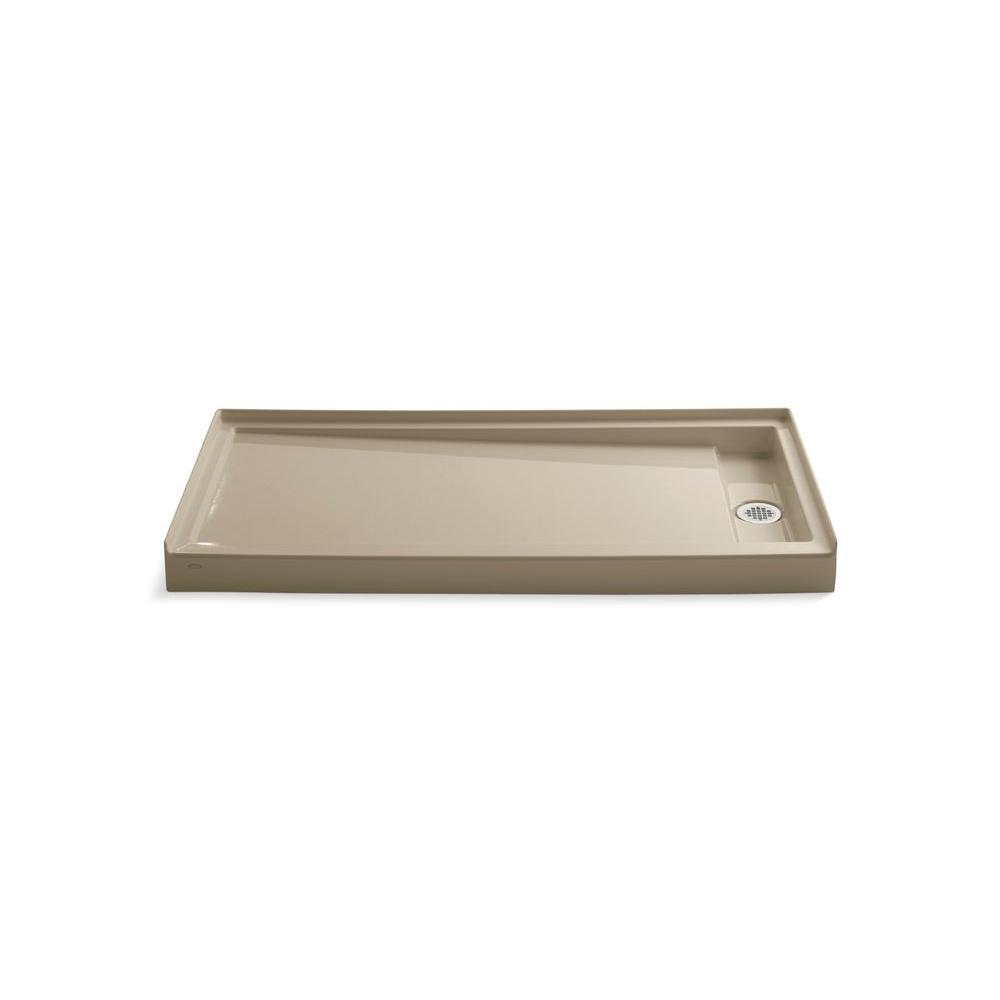 KOHLER Groove 60 in. x 32 in. Single Threshold Shower Receptor in Mexican Sand-DISCONTINUED