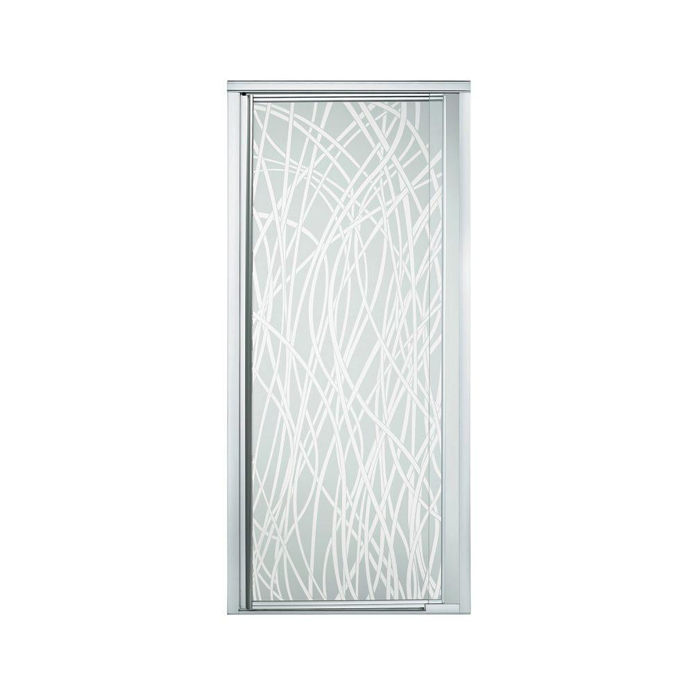 STERLING Vista Pivot II 42 in. x 65-1/2 in. Framed Pivot Shower Door in Silver with Tangle Glass Pattern