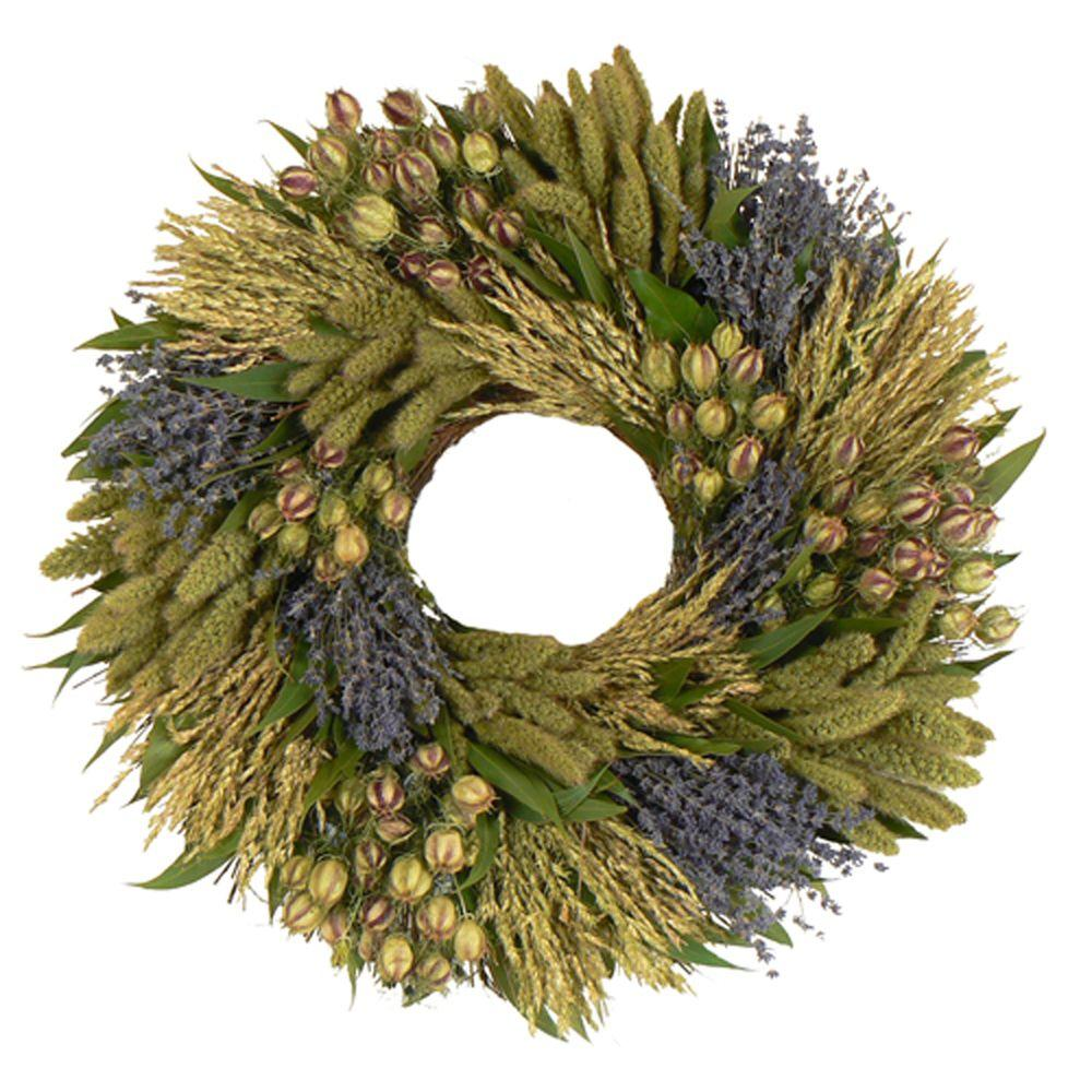 The Christmas Tree Company Lavender Grassland 22 in. Dried Floral Wreath