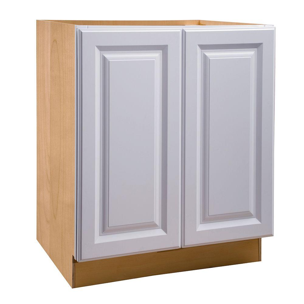 18x34.5x24 in. Hallmark Assembled Base Cabinet with Double Pullout Wastebasket