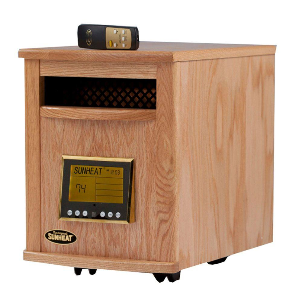 SUNHEAT 17.5 in. 1500-Watt Infrared Electric Portable Heater with Remote Control and Cabinetry - Natural Oak-DISCONTINUED